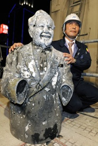 The cursing Colonel after being fished out of the Dotonbori canal.